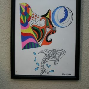 "Framed ""Whale and Cat"" Drawing"