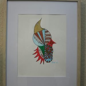 "Framed ""Bird"" Drawing"