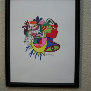 "Framed ""Faces"" Drawing"
