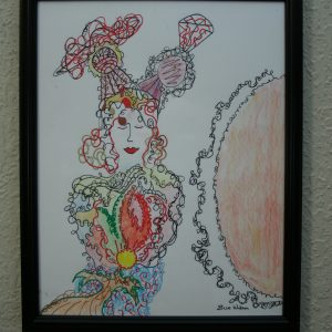 "Framed ""Lady"" Drawing"